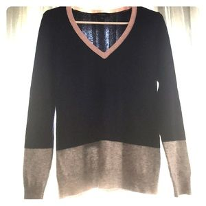 Ann Taylor Colorblock Cashmere Sweater